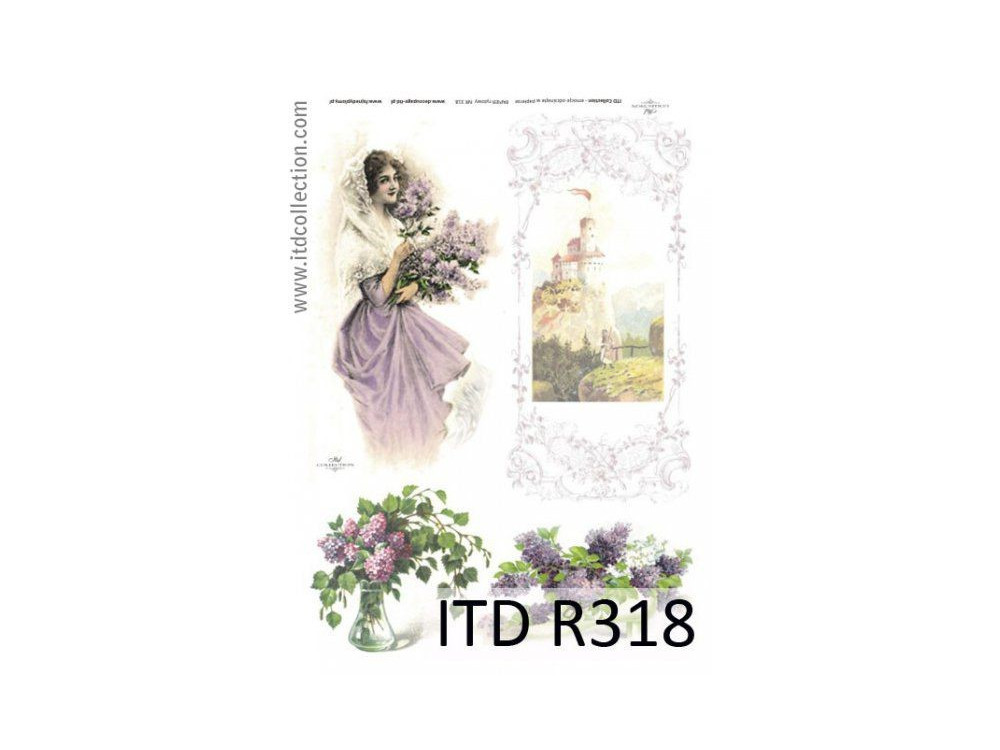 Papier do decoupage A4 - ITD Collection - ryżowy, R318