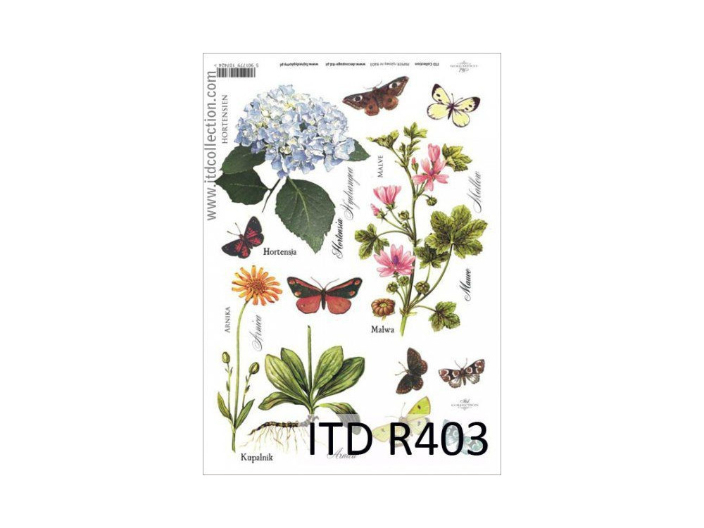 Papier do decoupage A4 - ITD Collection - ryżowy, R403