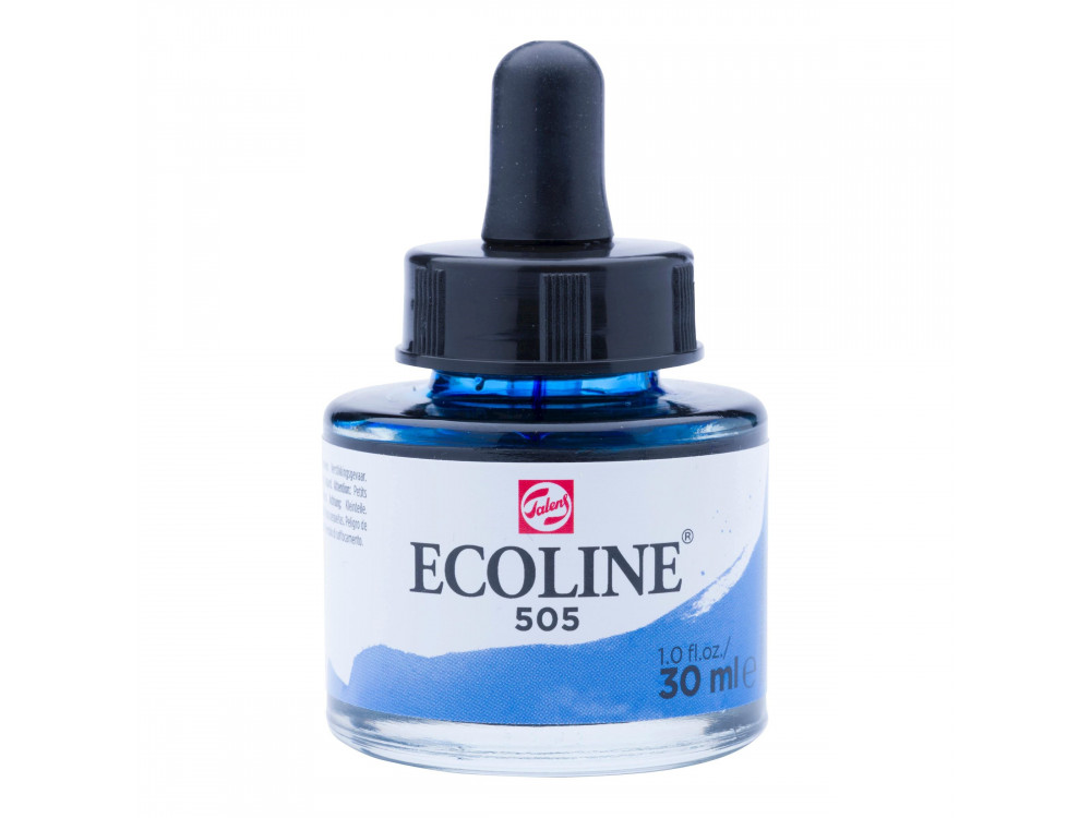 Liquid watercolor Ecoline in bottle - Talens - Ultramarine Light, 30 ml