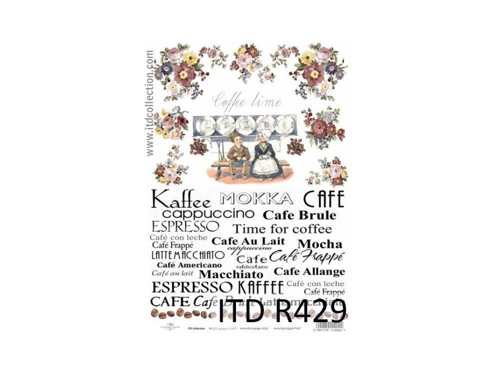 Decoupage paper A4 - ITD Collection - rice, R429