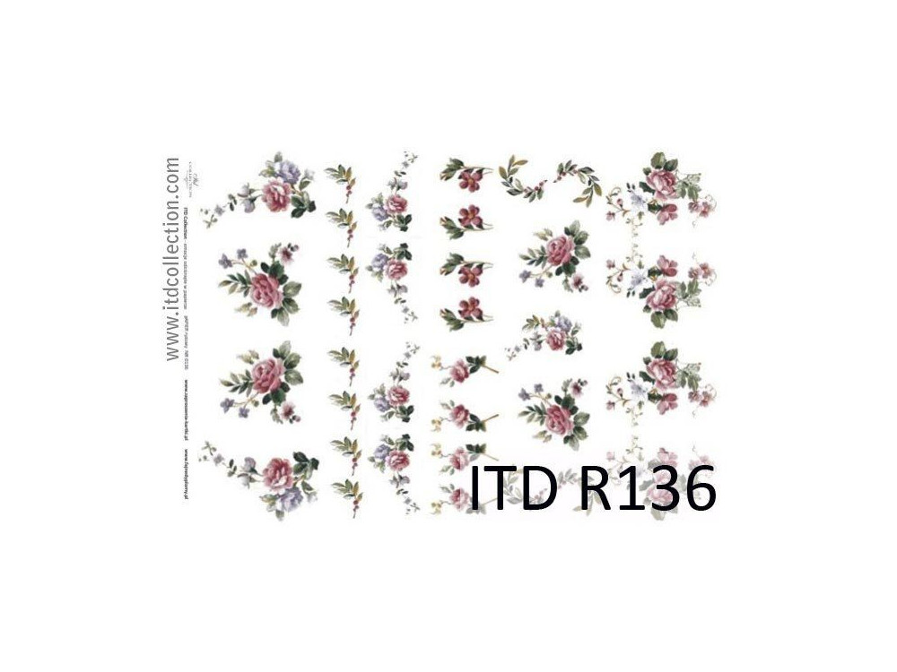 Papierdo decoupage A4 - ITD Collection - ryżowy, R136
