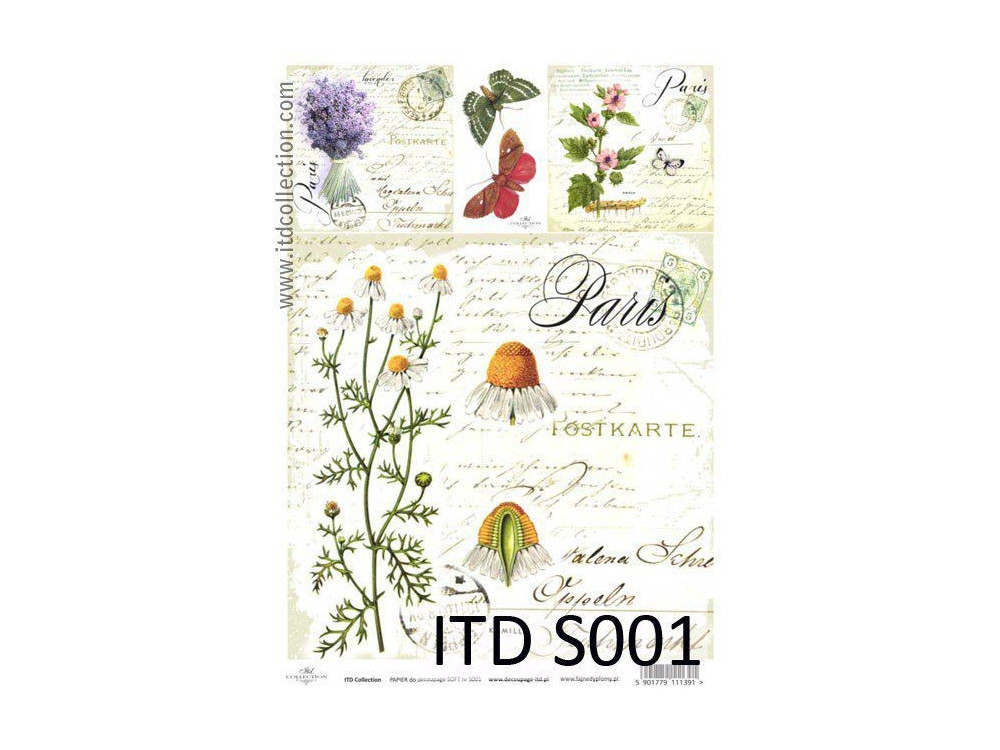 Papier do decoupage A4 - ITD Collection - soft, S001