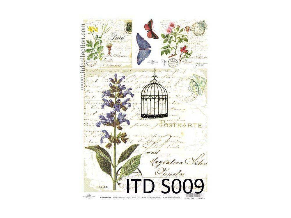 Papier do decoupage A4 - ITD Collection - soft, S009