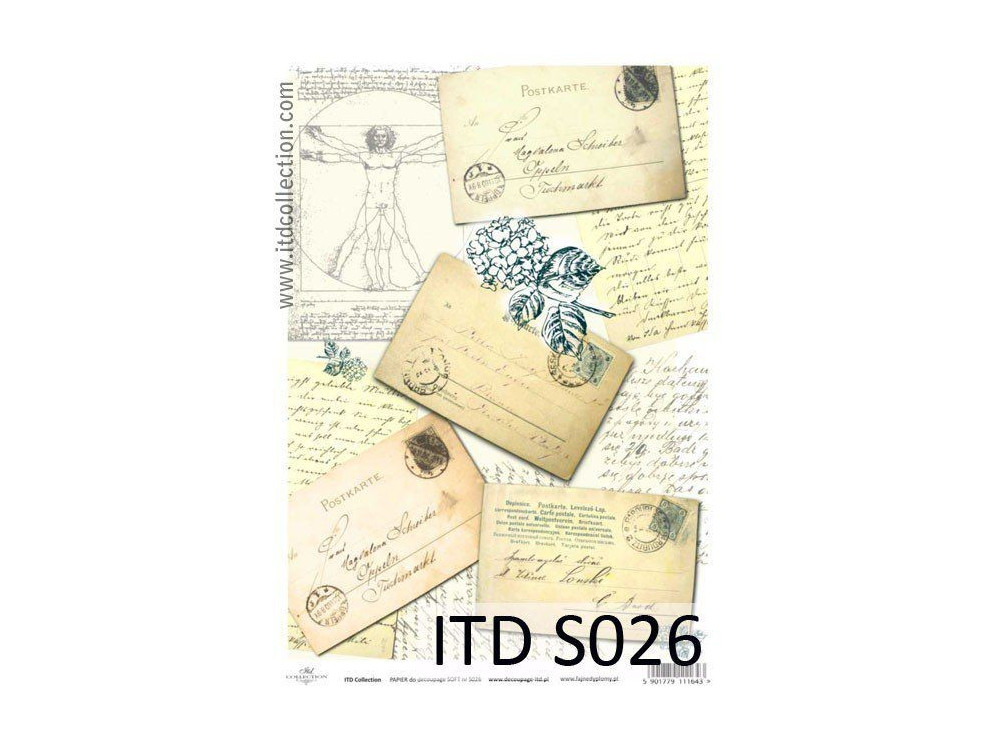 Papier do decoupage A4 - ITD Collection - soft, S026