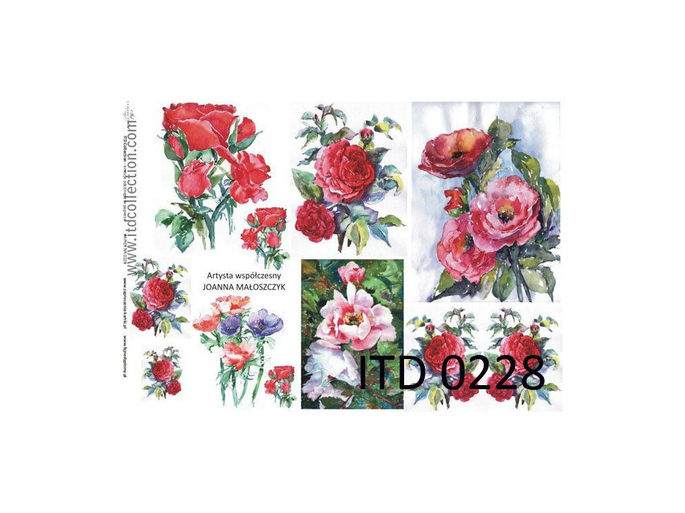 Papier do decoupage A4 - ITD Collection - klasyczny, 0228