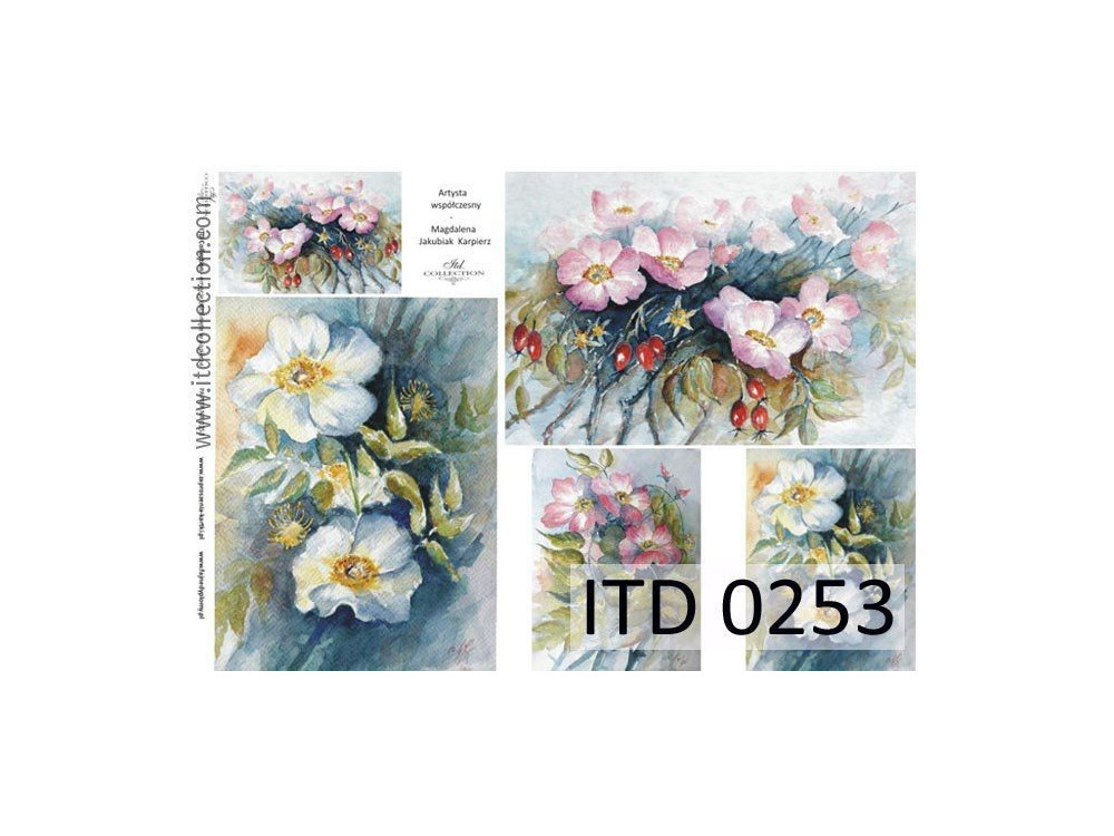 Papier do decoupage A4 - ITD Collection - klasyczny, 0253
