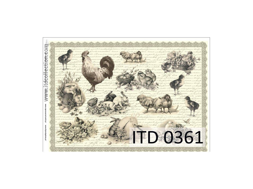 Papier do decoupage A4 - ITD Collection - klasyczny, 0361