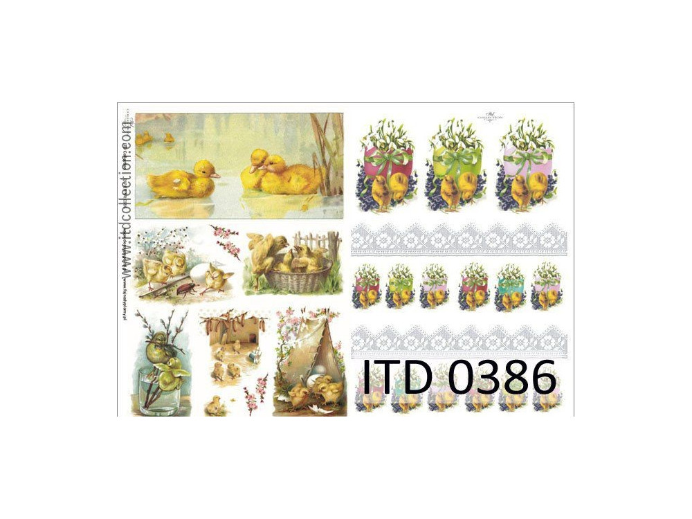 Papier do decoupage A4 - ITD Collection - klasyczny, 0386