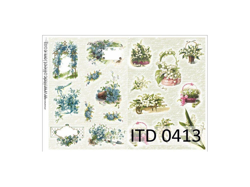 Papier do decoupage A4 - ITD Collection - klasyczny, 0413