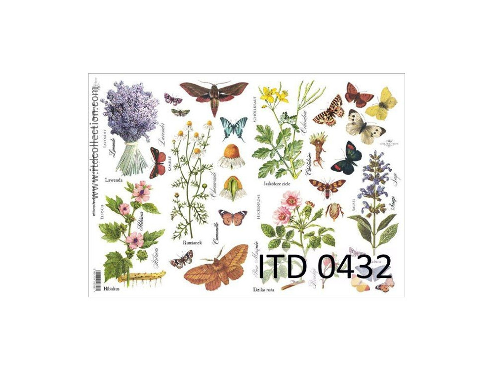 Papier do decoupage A4 - ITD Collection - klasyczny, 0432