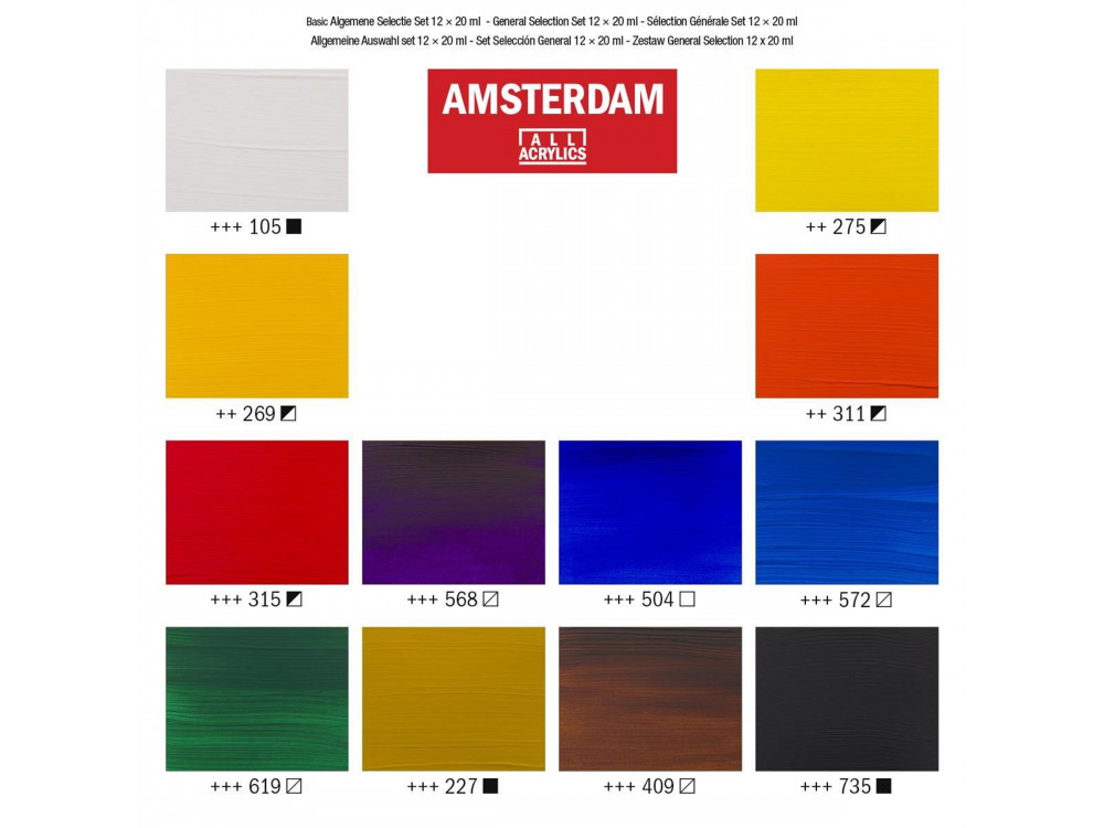 Set of acrylic paints in tubes - Amsterdam - 12 colors x 20 ml
