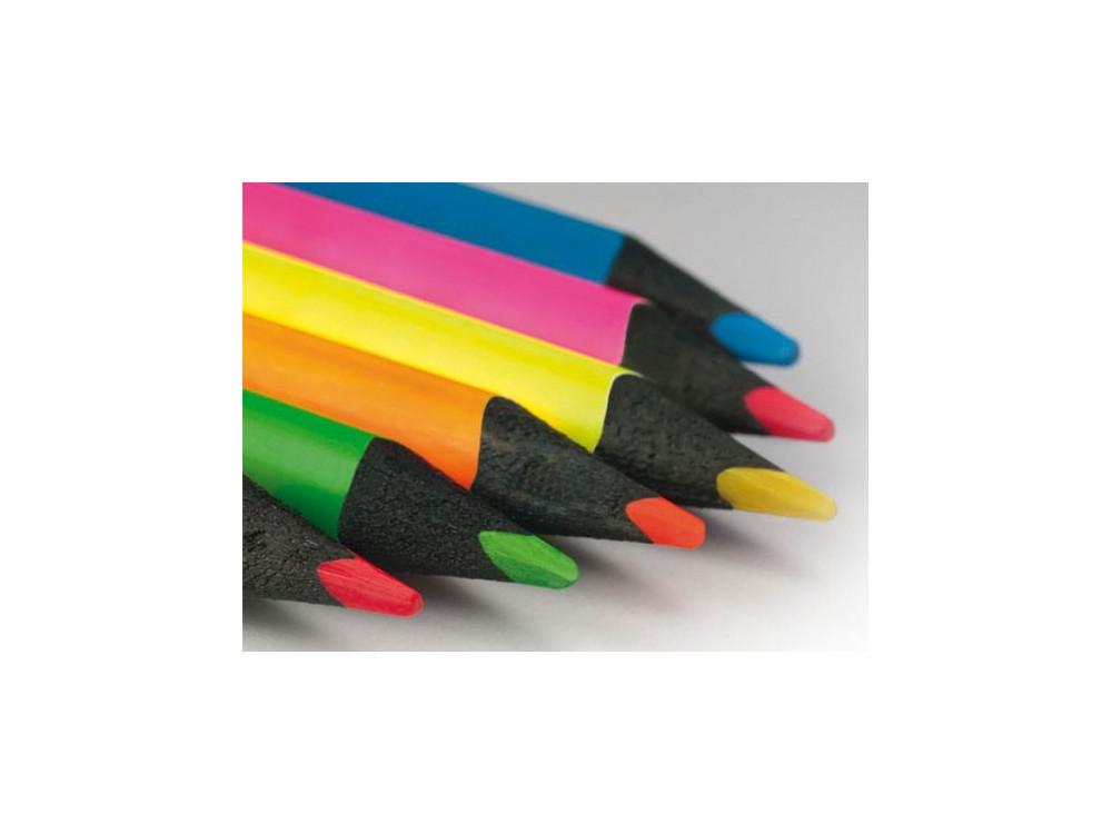 Box 6 Black Wood Fluo Pencils Milan