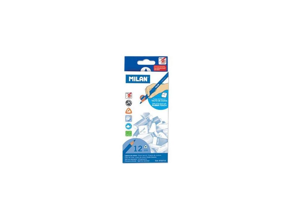 Kredki Rubber Touch trójkątne - Milan - 12 kolorów