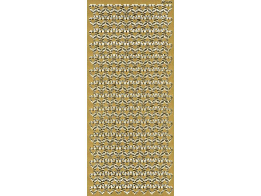 Stickersy, naklejki ażurowe - Serca, złote