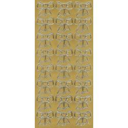 Stickersy, naklejki ażurowe - Kokardki, złote