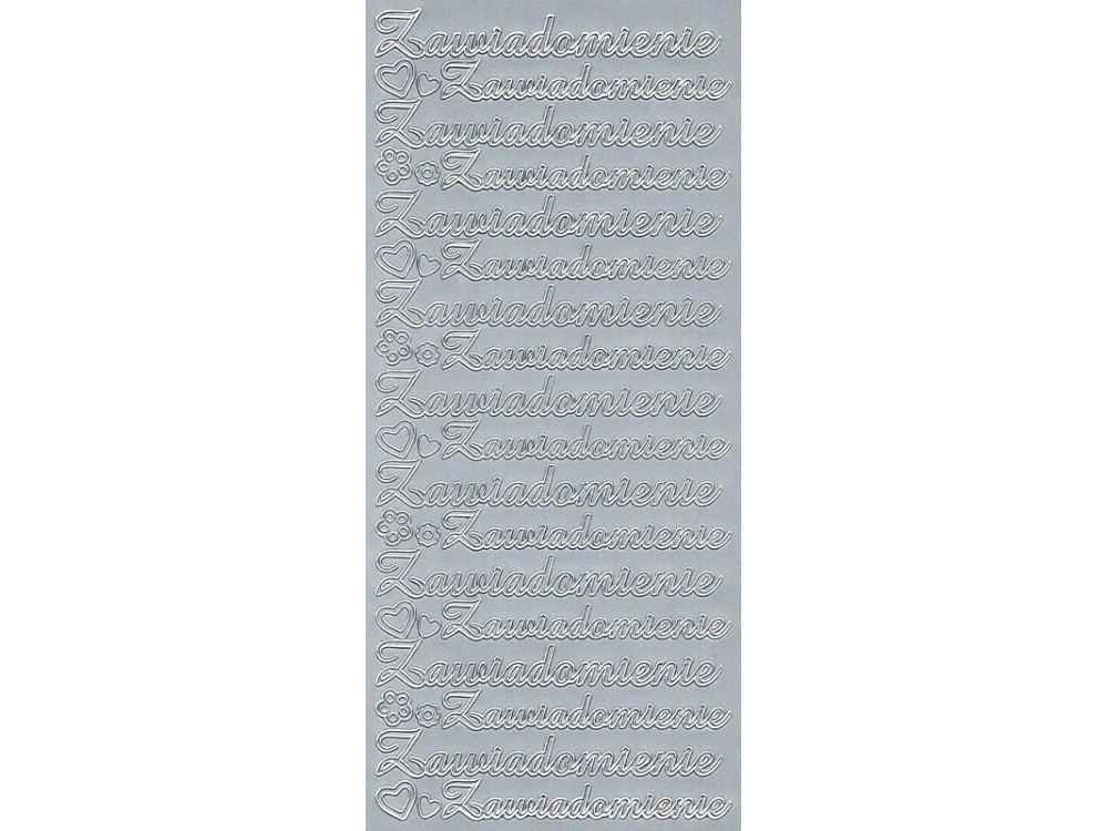 Stickersy, naklejki ażurowe - Zawiadomienie, srebrne