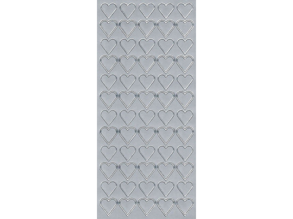 Stickersy, naklejki ażurowe - Serca, srebrne