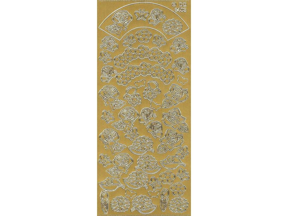 Stickersy, naklejki ażurowe - Kwiaty i motyle, złote