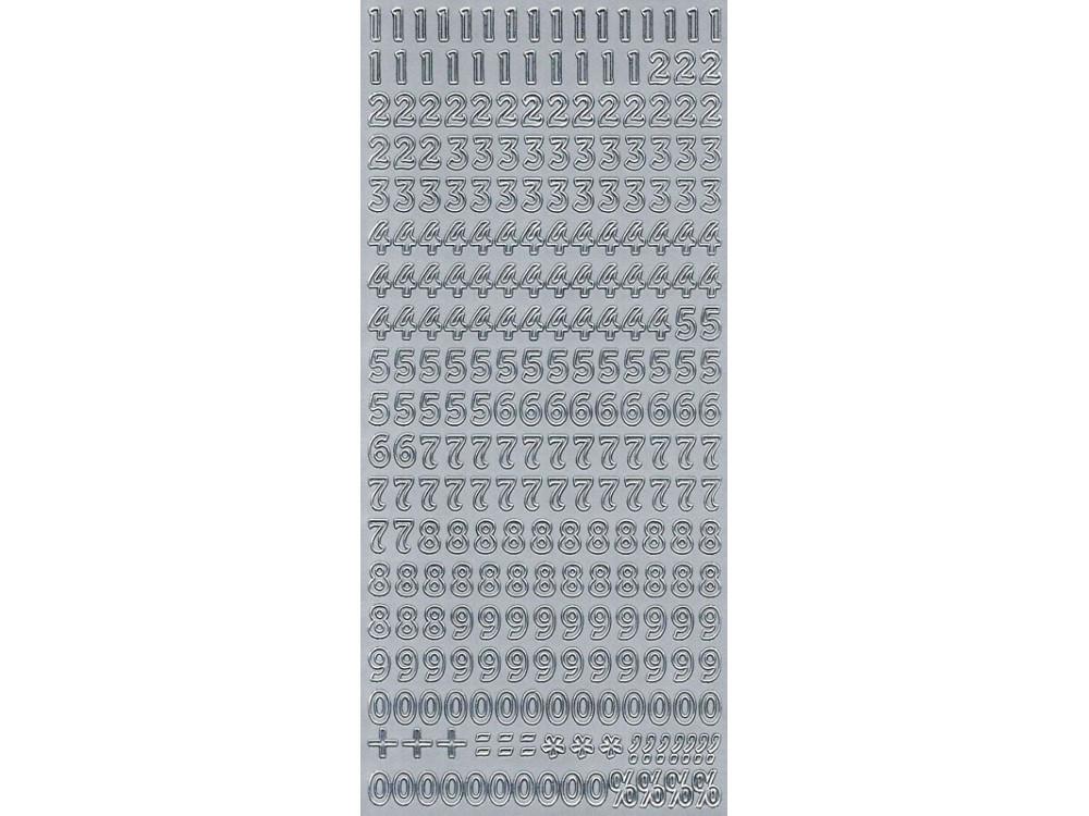 Stickersy, naklejki ażurowe - Cyfry, srebrne