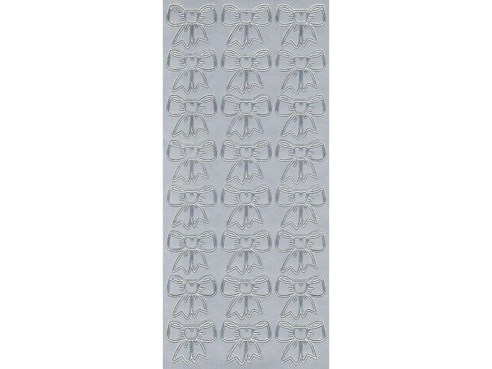 Stickersy, naklejki ażurowe - Kokardki, srebrne