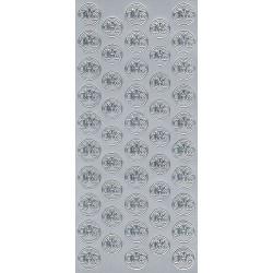 Stickersy, naklejki ażurowe - IHS, srebrne