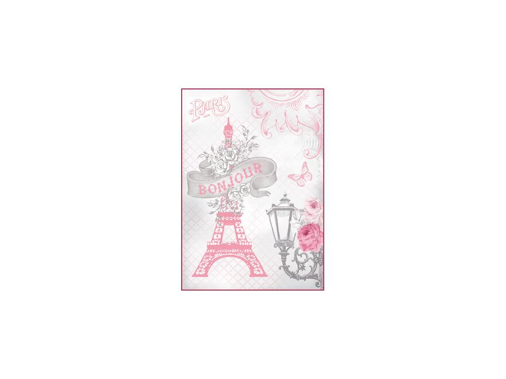 Papier ryżowy A4 - Stamperia - Wieża Eiffla, Róże