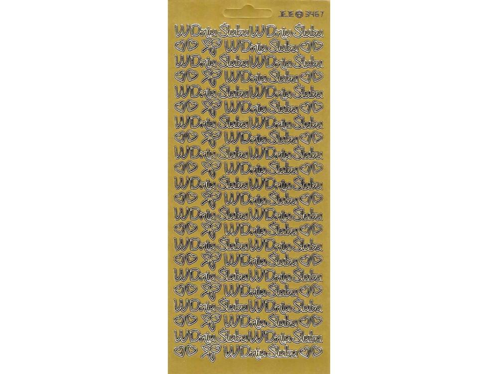 Stickersy, naklejki ażurowe - W Dniu Ślubu, złote
