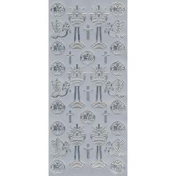 Stickersy, naklejki ażurowe - Kielich IHS, srebrne