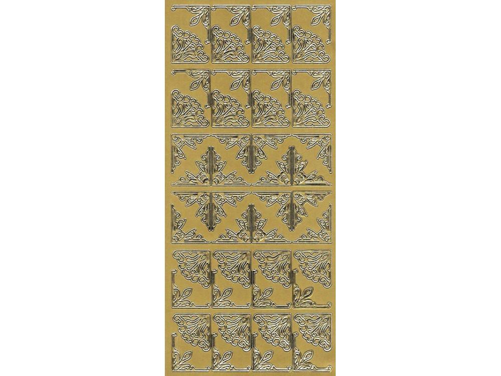 Stickersy, naklejki ażurowe - Narożniki, złote