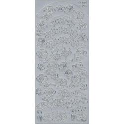 Stickersy, naklejki ażurowe - Kwiaty i motyle, srebrne