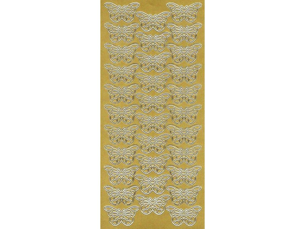 Stickersy, naklejki ażurowe - Motyle, złote