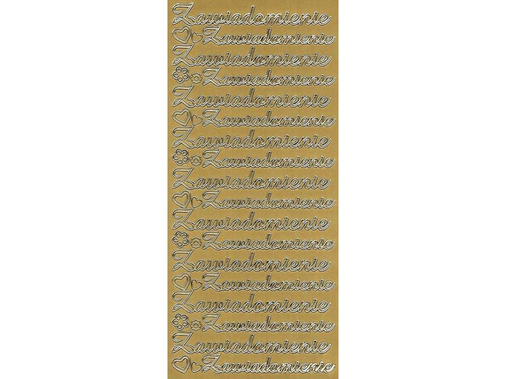 Stickersy, naklejki ażurowe - Zawiadomienie, złote