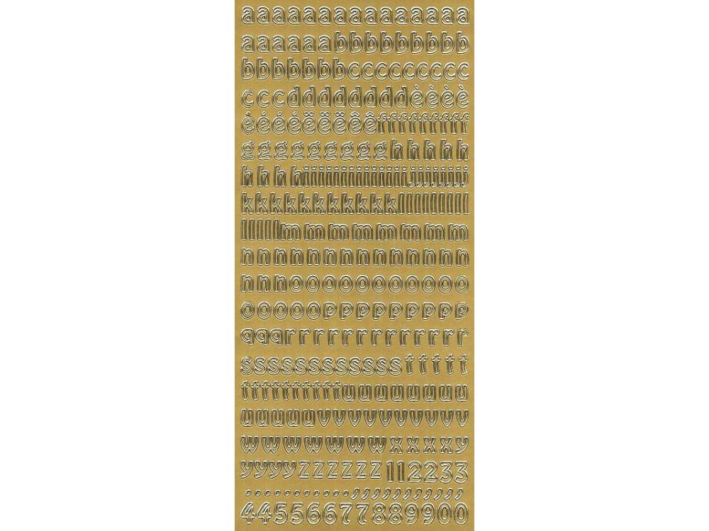 Stickersy, naklejki ażurowe - Alfabet, małe litery, złote
