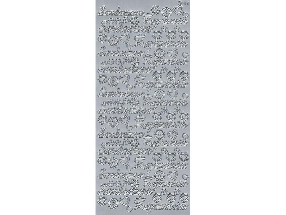Stickersy, naklejki ażurowe - Serdeczne Życzenia, srebrne