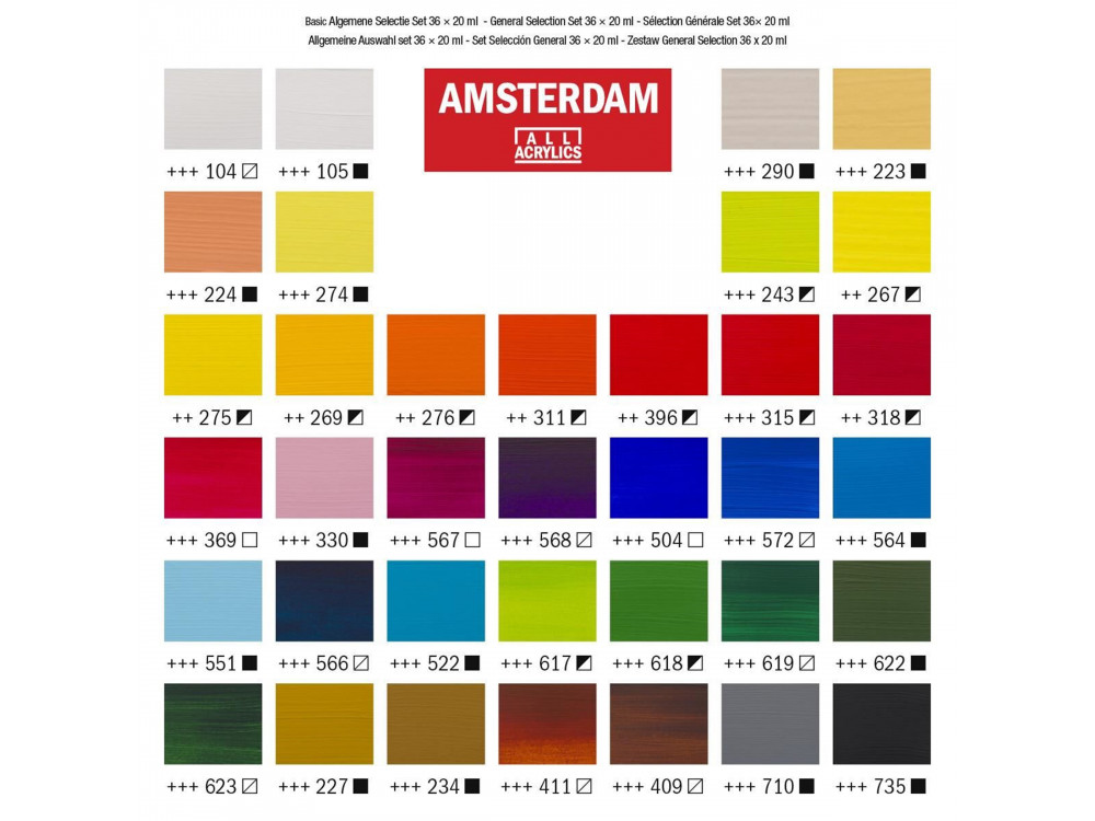 Set of acrylic paints in tubes - Amsterdam - 36 colors x 20 ml