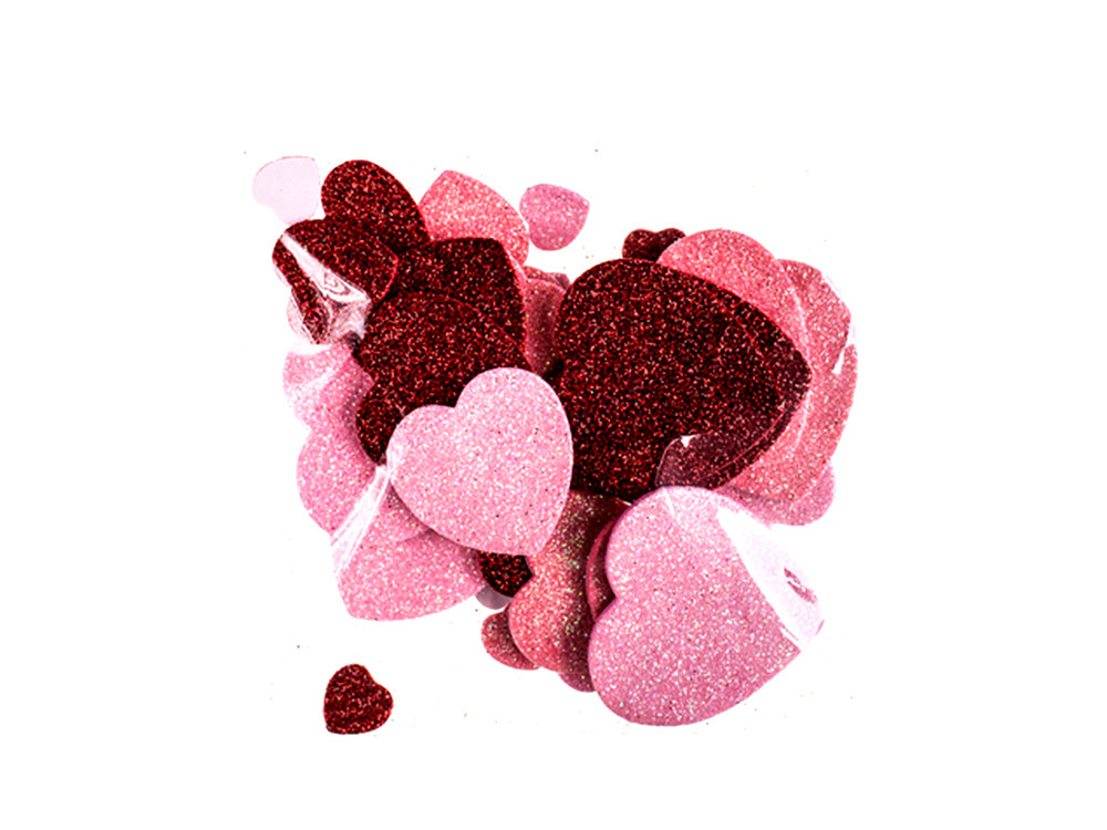 Glitter foam stickers - DpCraft - hearts, 30 pcs.