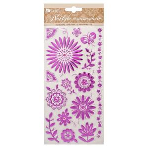 Naklejki ornamentowe tłoczone - fioletowe kwiaty