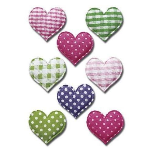 Soft heart fabric stickers - Herma - hearts, 8 pcs.