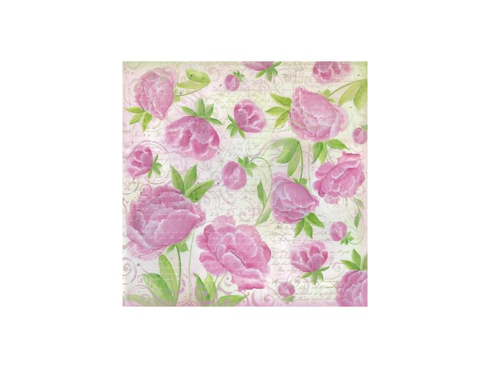 Serwetka ryżowa 50 x 50 cm - Stamperia - Kwiaty różowe