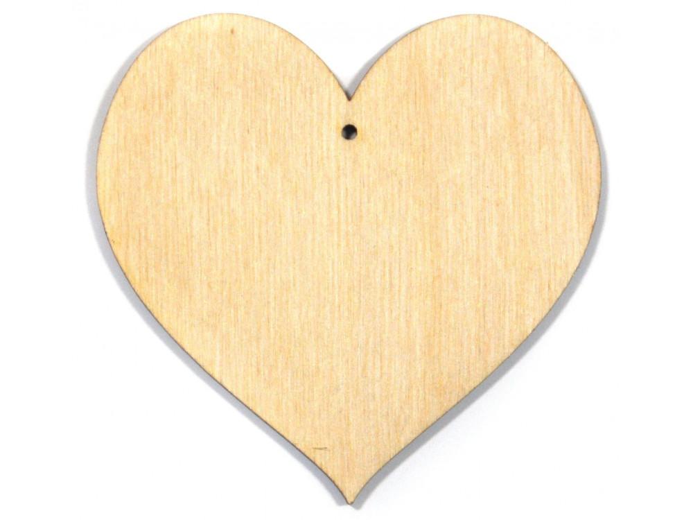 Serce ze sklejki, zawieszka - 10 cm