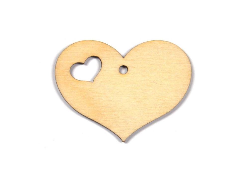 Serce ze sklejki z wycięciem - 3,5 cm