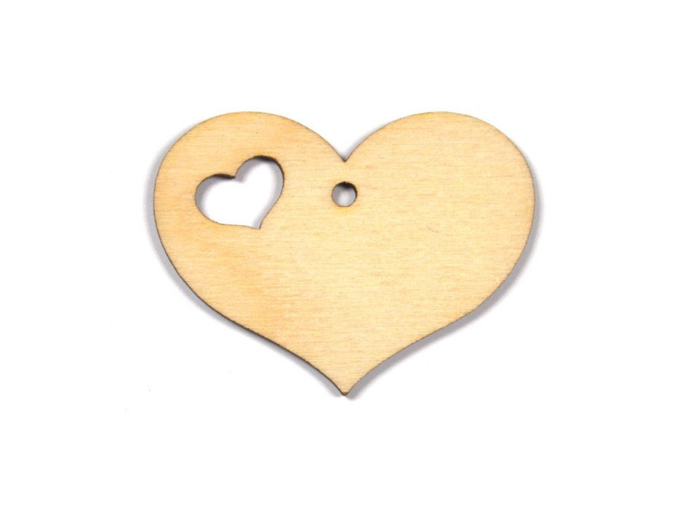Wooden Plywood Heart - with a small cut heart - 3,5 cm