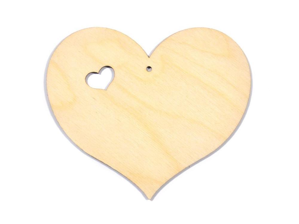 Serce ze sklejki z wycięciem, zawieszka - 10 cm