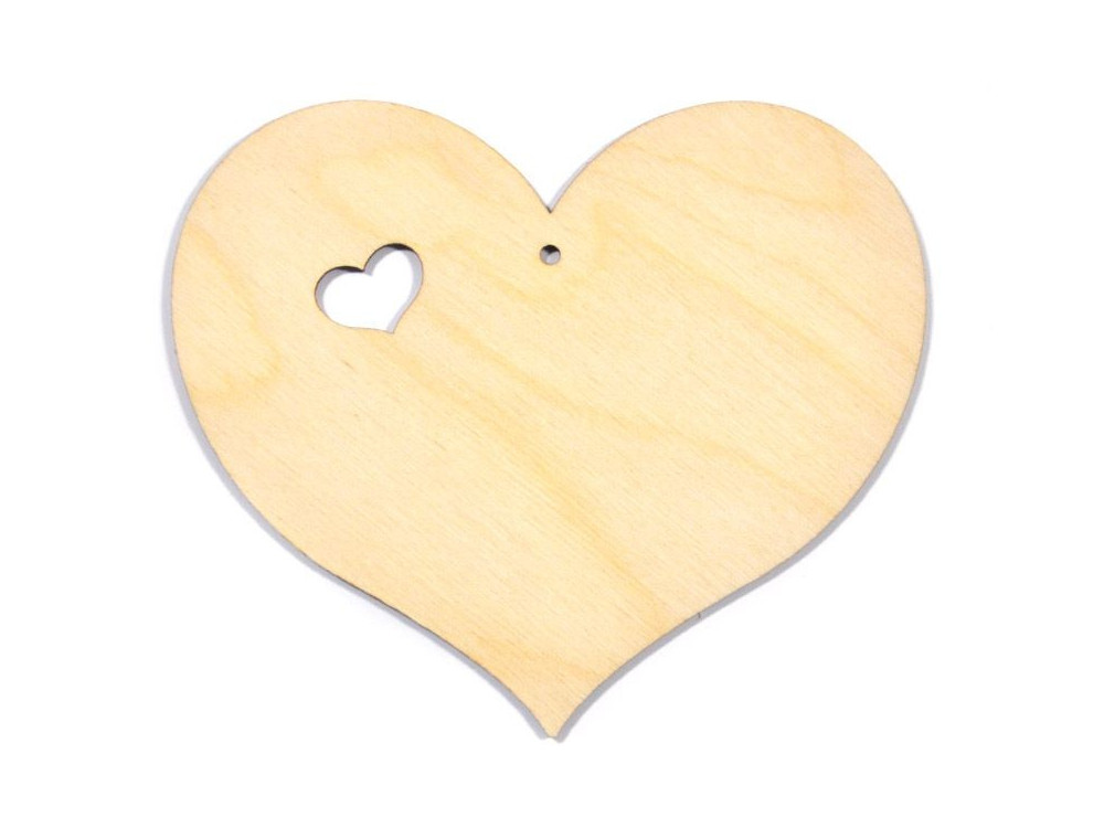 Wooden Plywood Heart - with a small cut heart - 10 cm