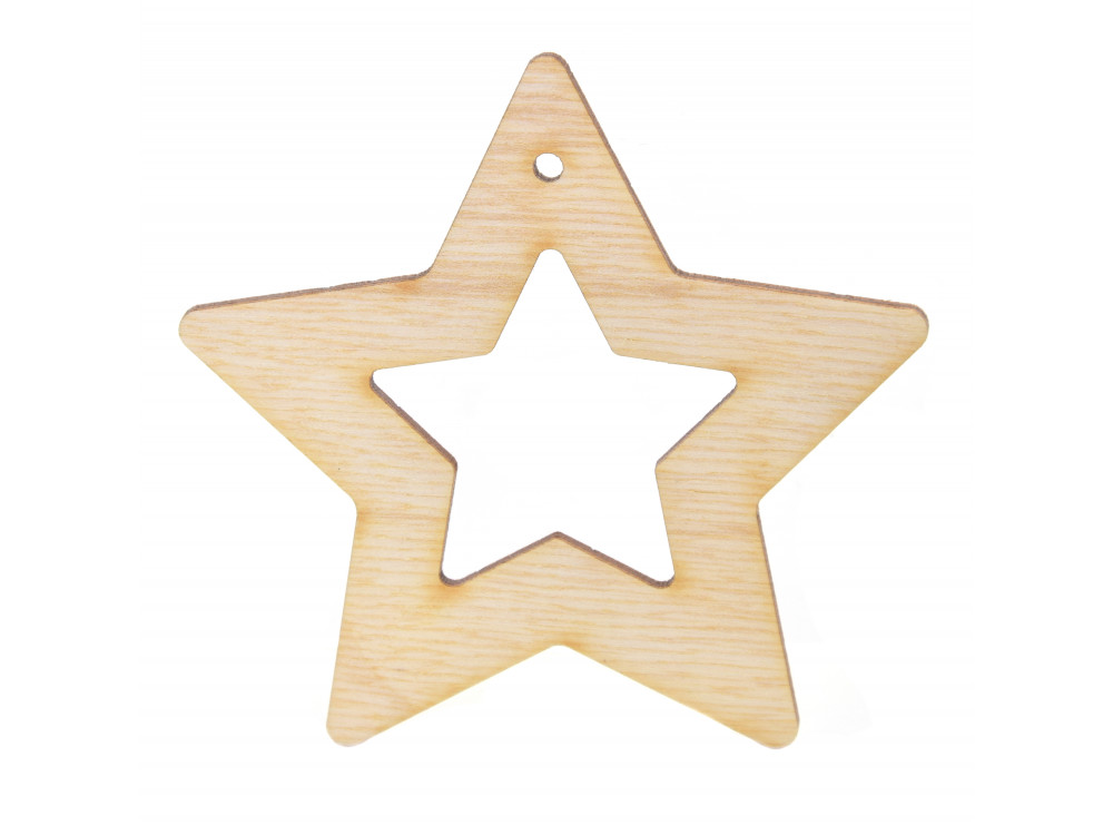 Wooden star pendant - Simply Crafting - 8 cm
