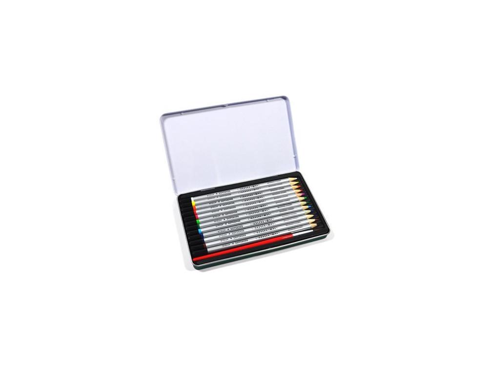 Zestaw kredek akwarelowych w kasetce metalowej + pędzel - Renesans - 12 kolorów