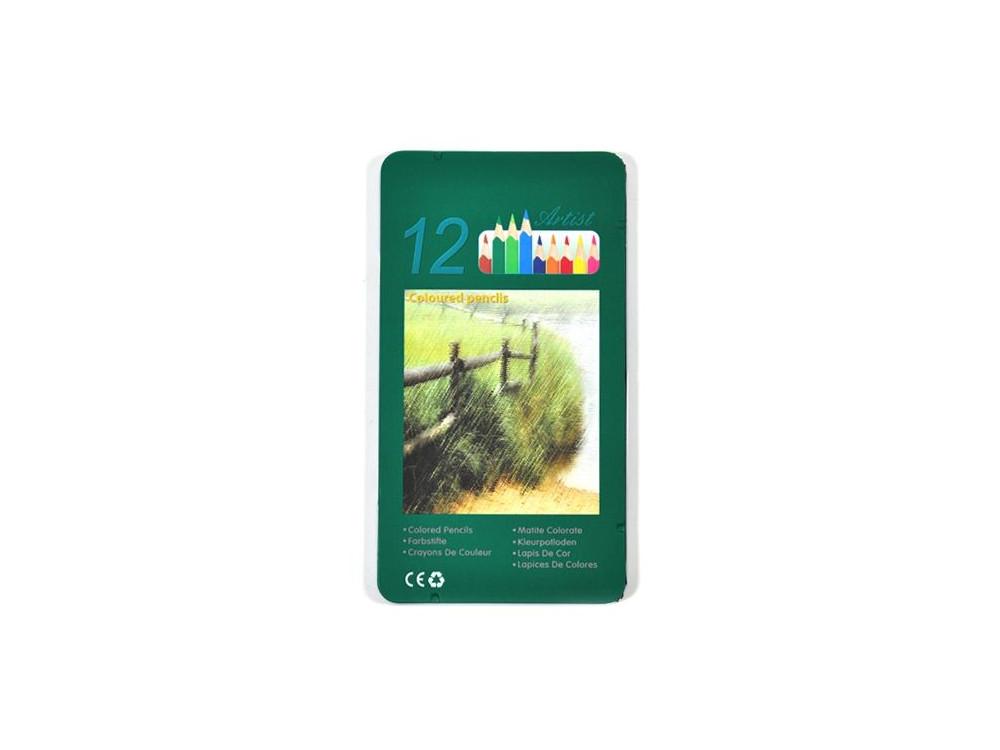 Kredki ołówkowe w metalowej kasetce - Renesans - 12 kolorów