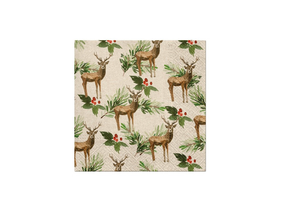 Decorative napkins - Paw - Deers and Holly, 20 pcs.